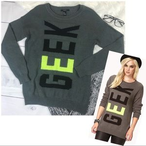 Forever 21 Cool Girl Geek Sweater Grey
